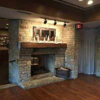 Riverside Wedding Reception fireplace